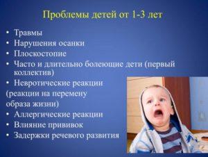 Проблемы детей от 1-3 лет
